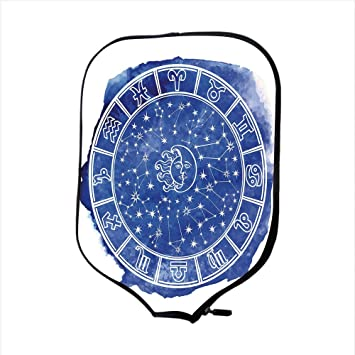 Neoprene Pickleball Paddle Racket Cover Case,Sun and Moon,Zodiac Circle Watercolor Backdrop Astrology