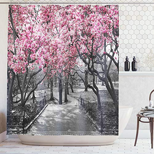 Ambesonne NYC Decor Collection, Blossoms In Central Park Cherry Bloom Trees Forest Spring Springtime Landscape Picture, Polyester Fabric Bathroom Shower Curtain, 75 Inches Long, Pink Gray ()