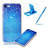 Clear Case for iPhone 7,Soft TPU Cover for iPhone 7,Herzzer Ultra Slim Pretty [Blue Glitters Pattern] Silicone Gel Bumper Flexible Crystal Transparent Skin Protective Case + 1 x Free Blue Cellphone Kickstand + 1 x Free Blue Stylus Pen