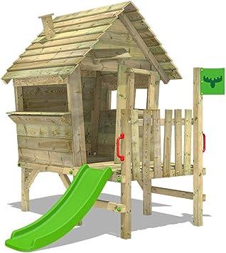 FATMOOSE Casa de juegos de madera VanillaVila Joy XXL con tobogán, Parque infantil para el jardín, Casita de exterior para niños: Amazon.es: Bricolaje y herramientas