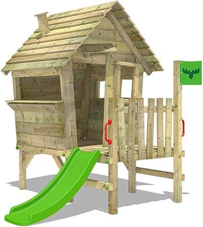 FATMOOSE Casa de juegos de madera VanillaVila Joy XXL con tobogán ...
