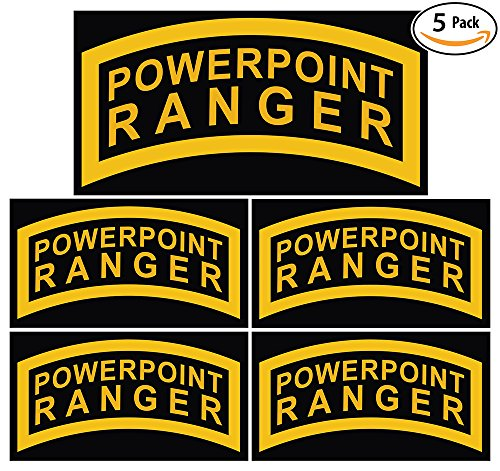 POWERPOINT RANGER Bumper Sticker 5 Pack. Are You a Microsoft Office Hero? Grab Your Badge of Honor! Funny Gag Gift & Joke for Military Desk Jockeys & Corporate Managers. Unique Laptop Decal.