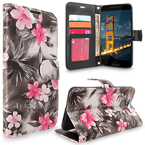 HTC One A9 Case, HTC Aero Case, Cellularvilla [Slim Fit] [Stand Feature] Premium Pu Leather Wallet Case [Card Slots] Book Style Protective Flip Cover For HTC One A9 / HTC Aero (Black Pink Flower)