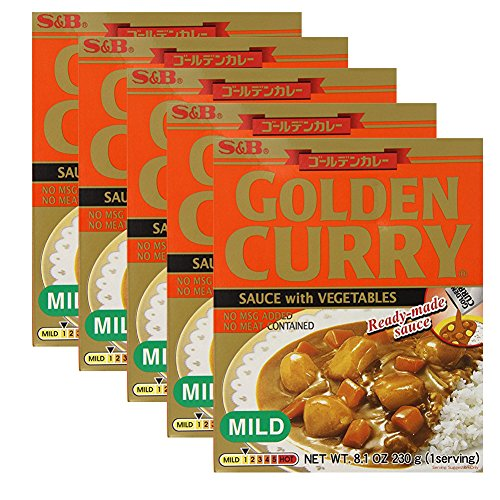 Sauce Curry Mild - [ 5 Packs ] S&B Golden Curry Sauce with Vegetables Mild 8.10 Ounce