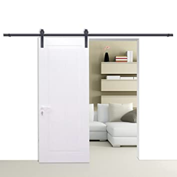 OrangeA Sliding Door Hardware 6ft Modern Interior Barn Door Hardware Black  Country Steel Sliding Barn Door