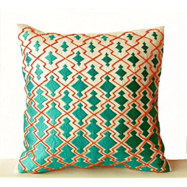 Amore Beaute Throw Pillow Covers - Teal Orange Decorative Pillowcase in Thread and Beads Sashiko Embroidery - Ivory Cushion Cover - Handmade Pillow Cover - Luxe Pillow Cover - Modern Decor - Embroidered Pillow Covers - Beaded Pillow Cover - Handmade Throw Covers - Gift - Wedding - Anniversary (16x16)