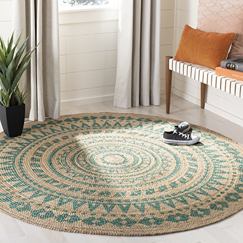 Safavieh NF802E-6R Natural Fiber Collection Area Rug 6' Round Teal