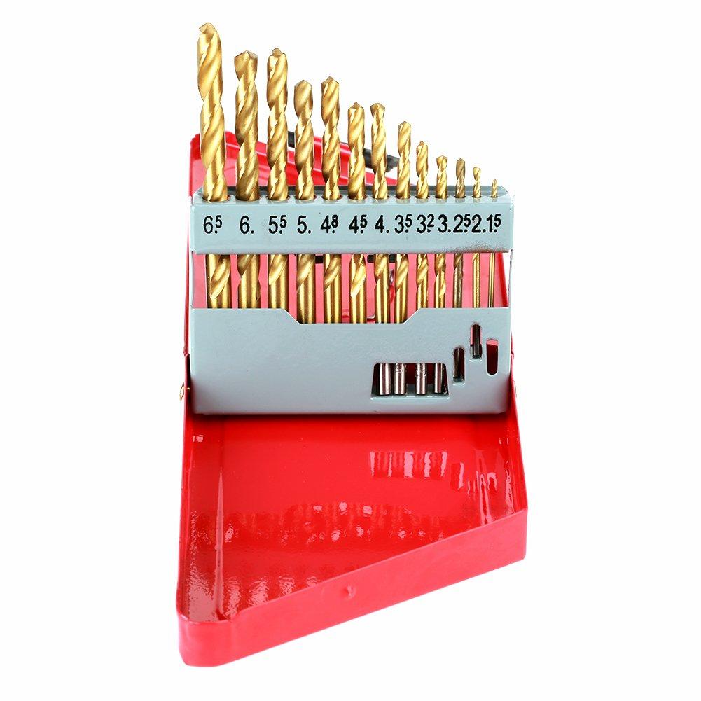 13Pcs Twist Drill Bit Set 1.5-6.5mm Titanium Plating High Speed Twist Drill Tool with Red Iron Box