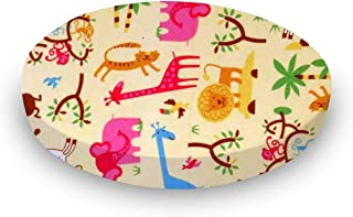 product image for SheetWorld 100% Cotton Flannel Round Crib Sheet, Jungle Animals Yellow, 42 x 42, Made in USA