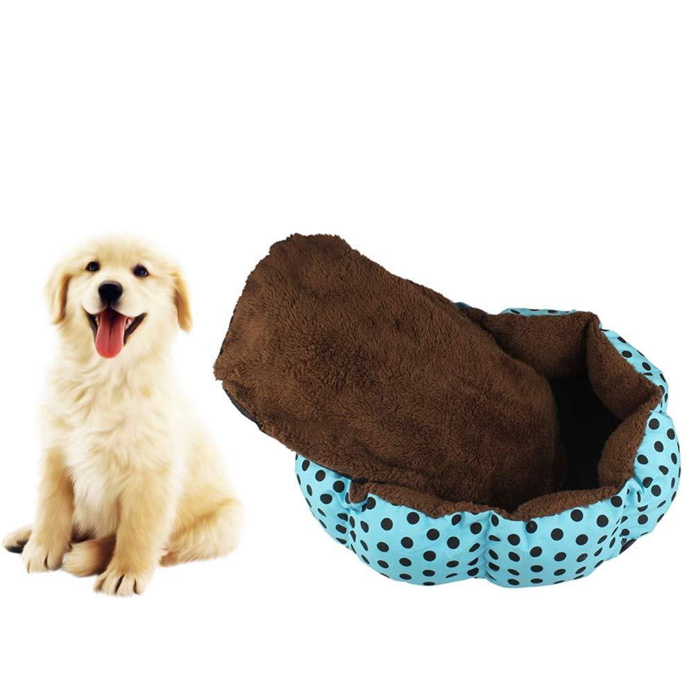 2019 New! Pet Bed,Small Dogs Winter Warm Fleece House Puppy Cat Plush Cozy Nest Mat Pad (36cm x 30cm, Blue)