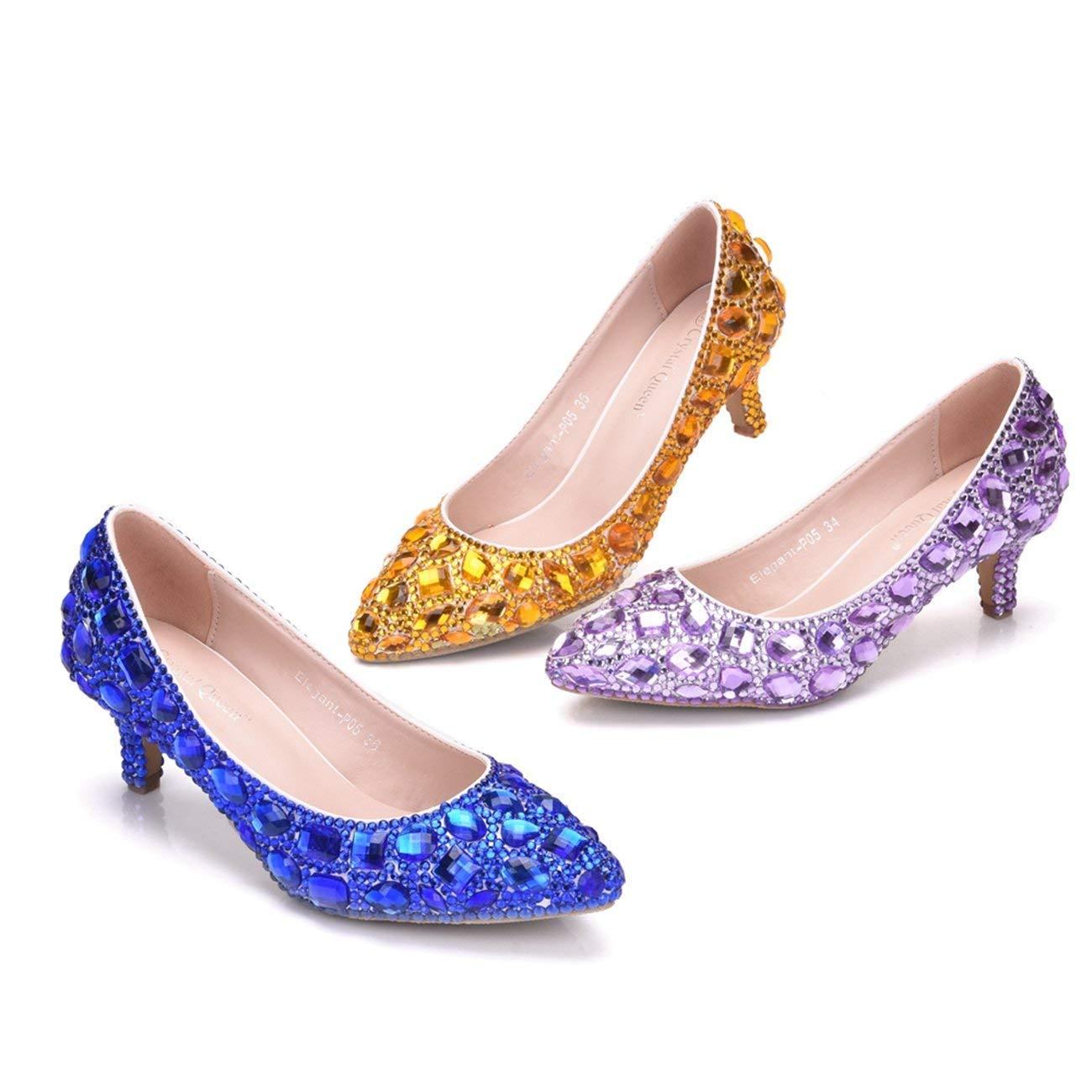 Qiusa Damen Low Heel Strass Perlen Slip-on Hochzeitskleid Party Schuhe Schuhe Schuhe (Farbe   Blau-6cm Heel, Größe   5 UK)  ca4599