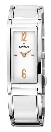 Kronos - Ceramic Bicolor 933.8.33 - Reloj de señora de Cuarzo, Brazalete de cerámica, Color Esfera: Blanca: Amazon.es: Relojes