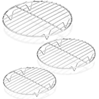 """P&P CHEF Round Cooking Rack, 3 Pcs (7½"""" & 9"""" & 10½""""), Baking Cooling Steaming Grilling Rack Stainless Steel, Fits Air…"""