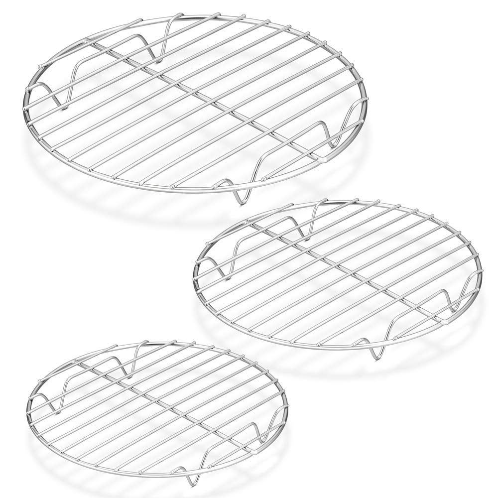 "P&P CHEF Round Cooking Rack, 3 Pcs (7½"" & 9"" & 10½""), Baking Cooling Steaming Grilling Rack Stainless Steel, Fits Air Fryer/Stockpot/Instant Pot/Pressure Cooker/Round Cake Pan, Oven & Dishwasher Safe"