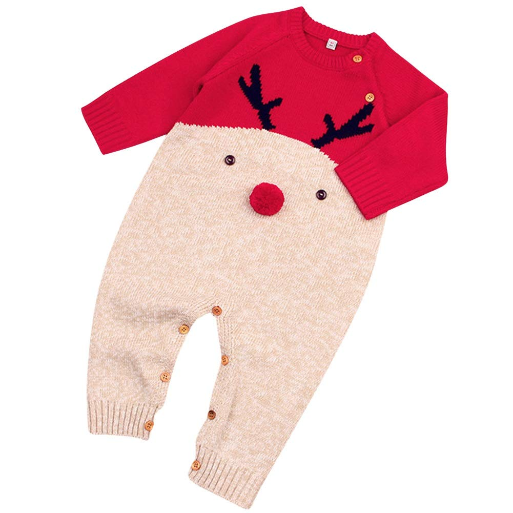 Preferhouse Infant Sweater Knitted Jumpsuits Christmas Deer Romper Suit