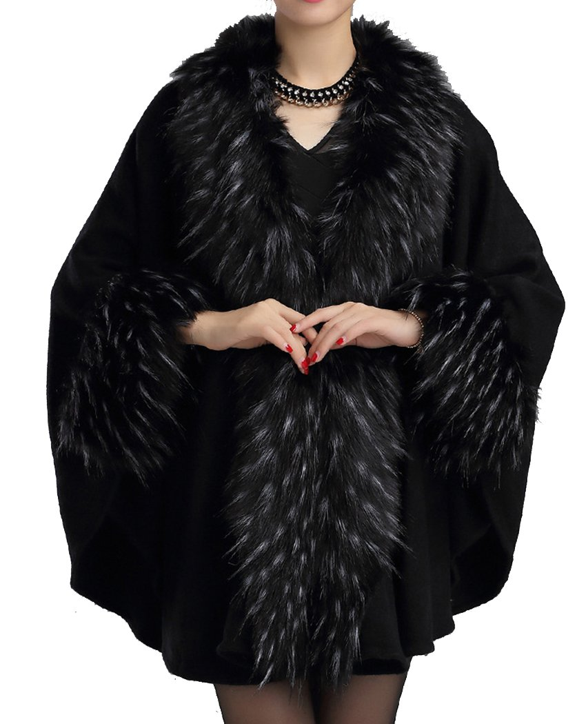 Helan Women's Fashion Luxury Pure Color Faux Fur Cape Coat Black