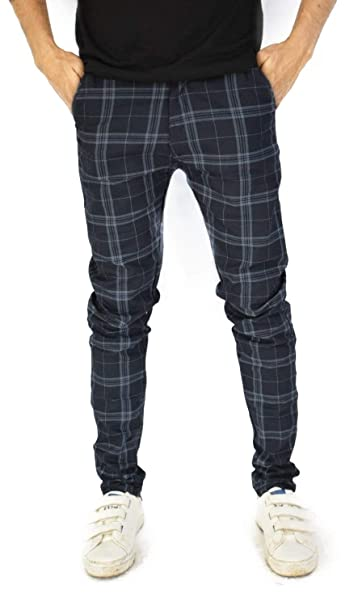 Toi Men S Slim Fit Casual Trouser Blue Checkered Pattern Amazon