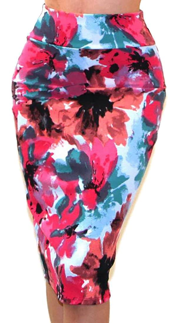 ainr Women High Waist Floral Print Bodycon Pencil Carrer Skirts
