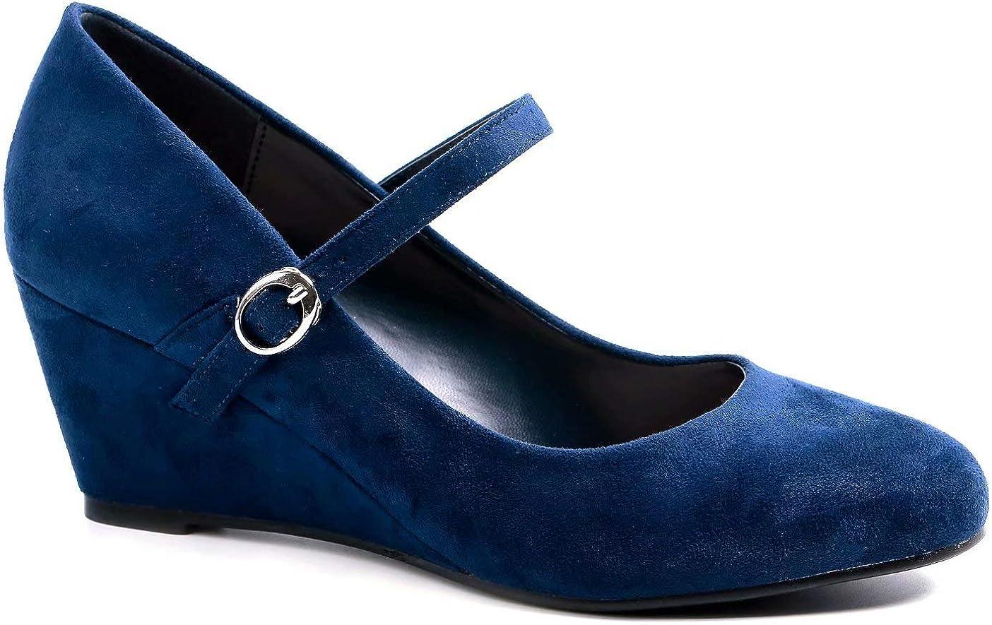Greatonu Womens Office Wedge Platform Mid Heel Court Shoes