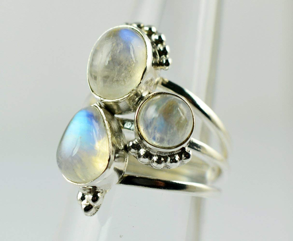 925 Sterling Silver Ring Rainbow Moonstone Ring Size 4 to 13  U S