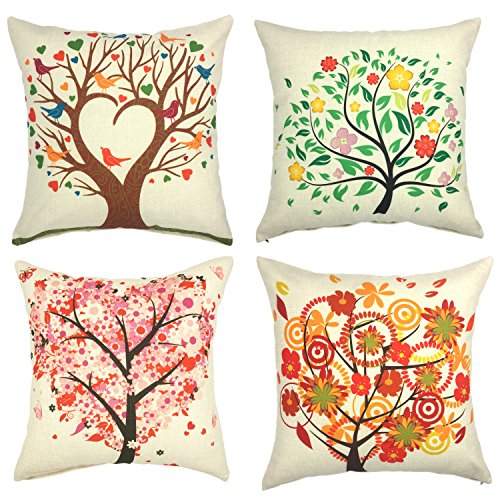 YOUR SMILE 4pcs Cotton Linen Sofa Home Decor Design Throw Pillow Case Cushion Covers Square 18 Inch (Tree) (Cheap Throw Colorful Pillows)
