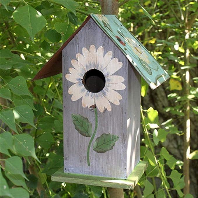Vobajf Nido de pájaros, decoración al aire libre, creativa, casa de pájaros, arte retro y artesanías, casa de campo, comedero de pájaros, ideal como regalo para niños al aire libre
