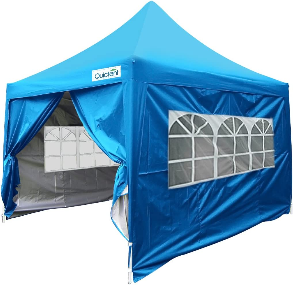 Quictent Silvox 10×10 EZ Pop Up Canopy Tent Instant Outdoor Vendor Tent with Sidewalls Roller Bag Waterproof Blue