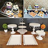 6 Set Metal Crystal Cake Holder Cupcake Stand Cake Dessert Holder with Pendants and Beads,Wedding Birthday Dessert Cupcake Pedestal Display,White (6)