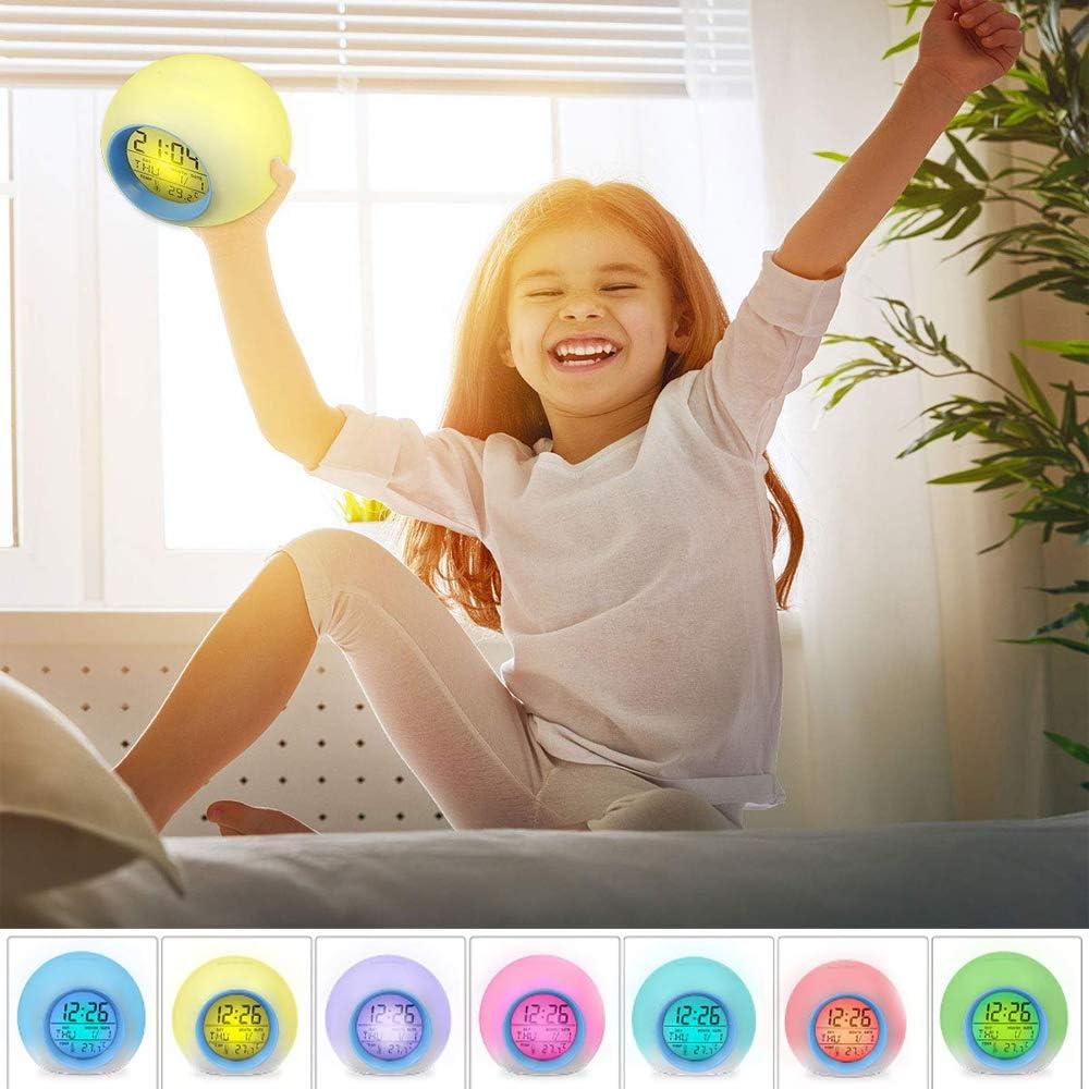 Bleu Eclairage 7 Couleurs Changeant avec Contr/ôle Tactile YUES R/éveil Num/érique pour Enfants avec Calendrier et Thermom/ètre