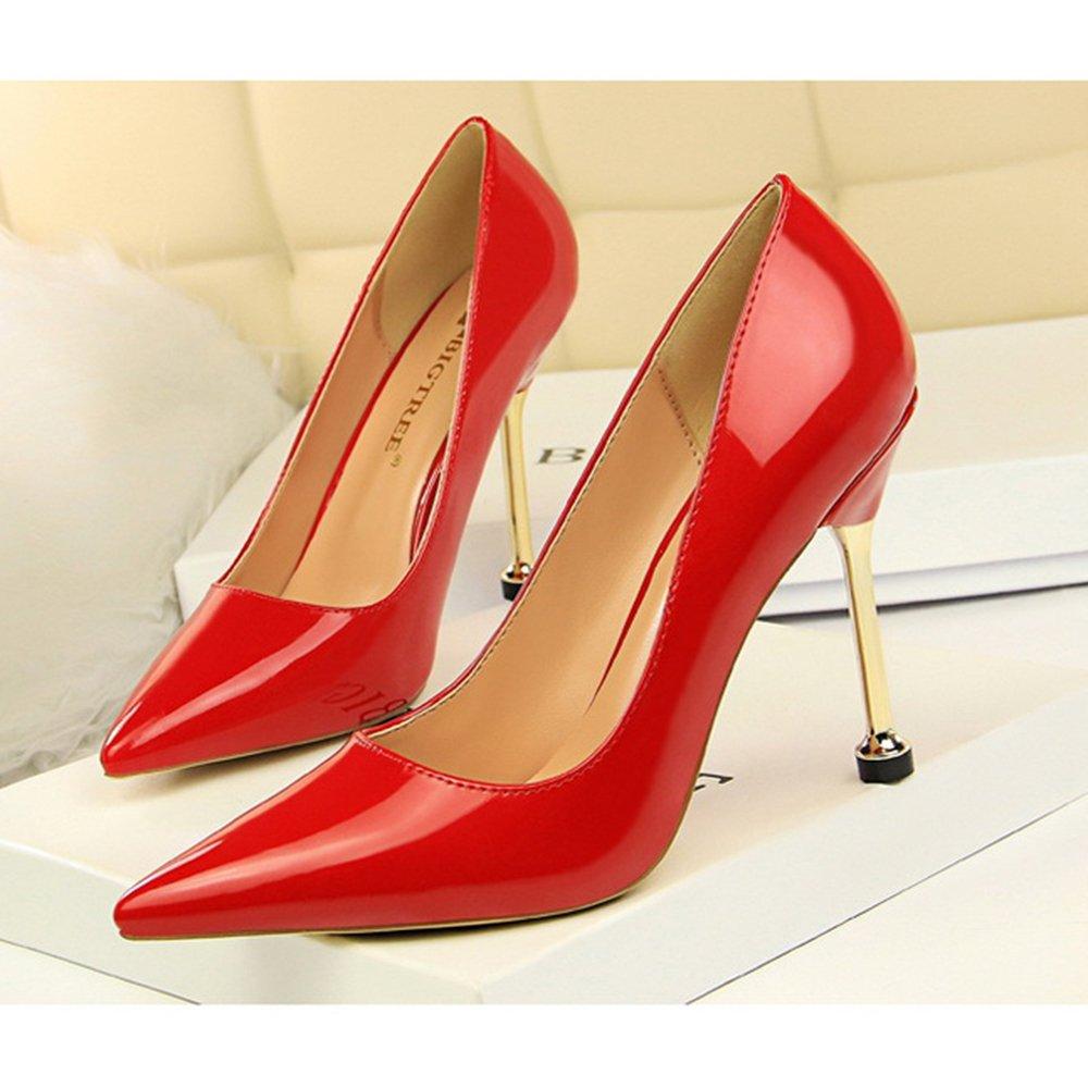 LDZY Frauen Formelle High Heel OL Stiletto Lackleder Nah Wies Nah Lackleder Toe Sandalen Pump Hochzeit Nachtclub Schuhe ROT(10cm) fb43e1