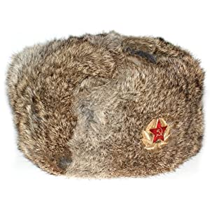 700283fa4344ff Where To Purchase Winter Hat Russian Rabbit Fur Ushanka Brown with Soviet  Red Star insignia for sale -