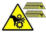 """(25 Pack) - 3"""" Modern Triangular Pinch Point Safety Stickers - Yellow and Black Pinch Point Safety Stickers"""