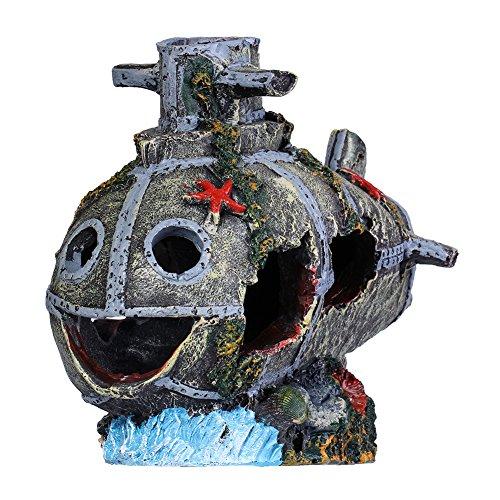 Liamtu resin sunken submarine aquatic large caves plastic for Fish tank decorations amazon