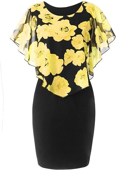 Vestidos para Mujeres Señoras Falda Recta de Impresión de Flores ...
