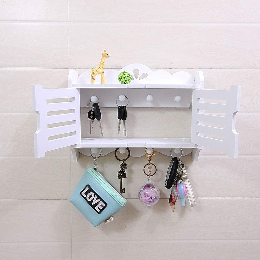 Rustic Wood Wall Mounted Organizer Shelves w/ 2 Hooks, Openable door2Tier Storage Rackn Hanging Key Storage Box by SEN (Image #2)