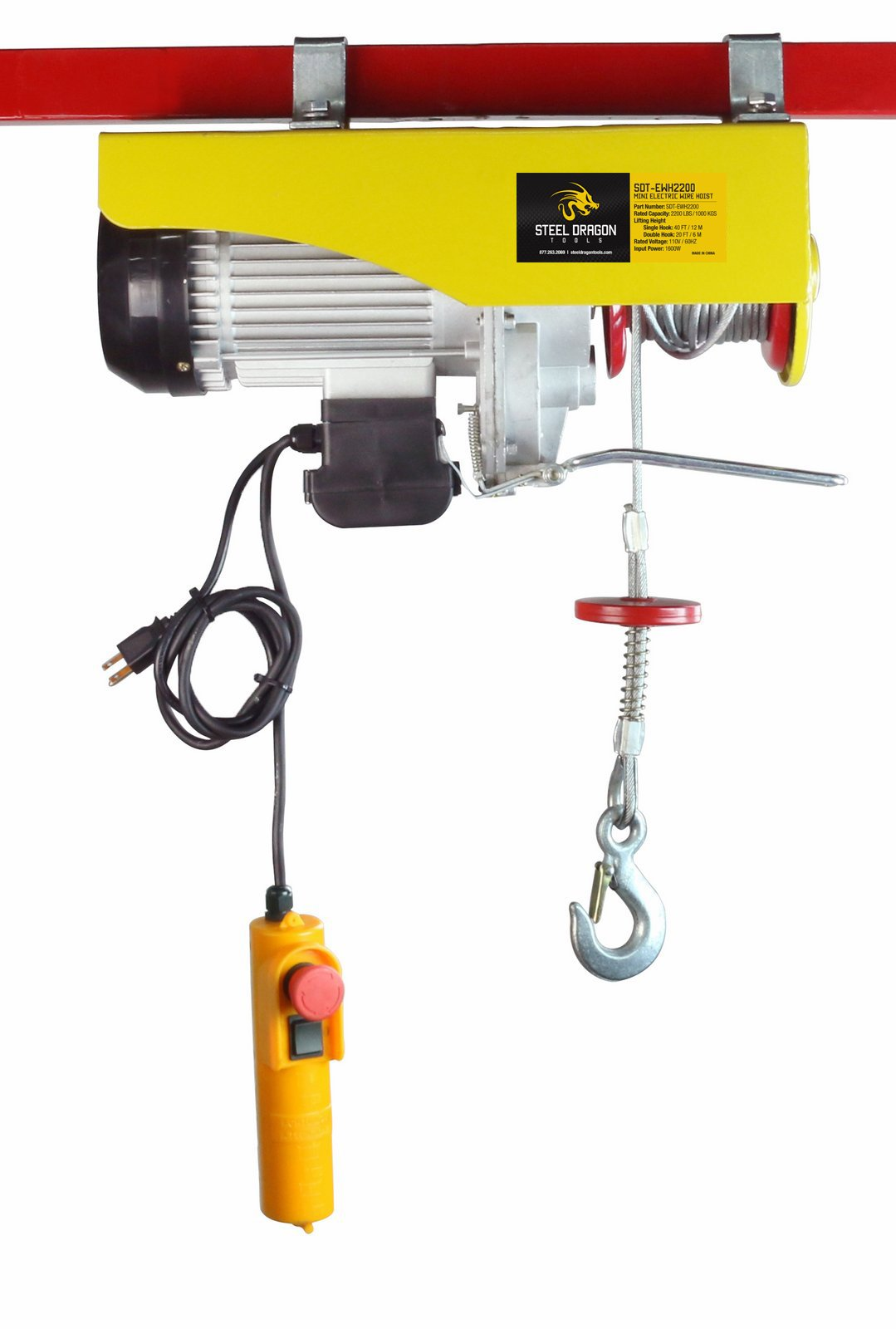 Steel Dragon Tools 2200 LBS Mini Electric Wire Cable Hoist Overhead Crane Lift with Remote Control