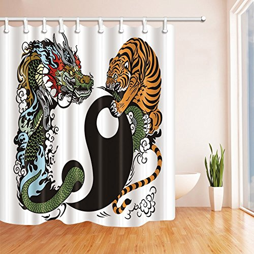 Taiji Towel Warmer (Rrfwq Water Colored Painting Decor Chinese Classical Tiger and Dragon Fight with Taiji Mildew Resistant Polyester Fabric Shower Curtains for Bath 70.8 X 70.8 inches)