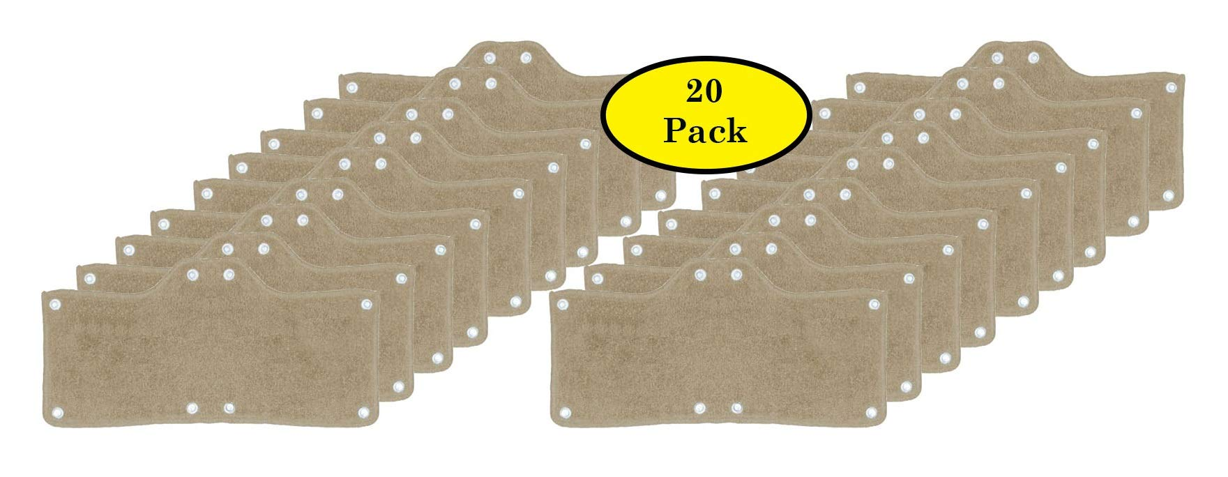 20 Pack Best Hard Hat Sweatband Beige Washable Snap On Sweat Band Liner Safety Accessories by Tuff America