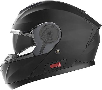Amazon.es: Casco Moto Modular ECE Homologado - YEMA YM-926 Casco de Moto Integral Scooter para Mujer Hombre Adultos con Doble Visera-Negro Mate-M