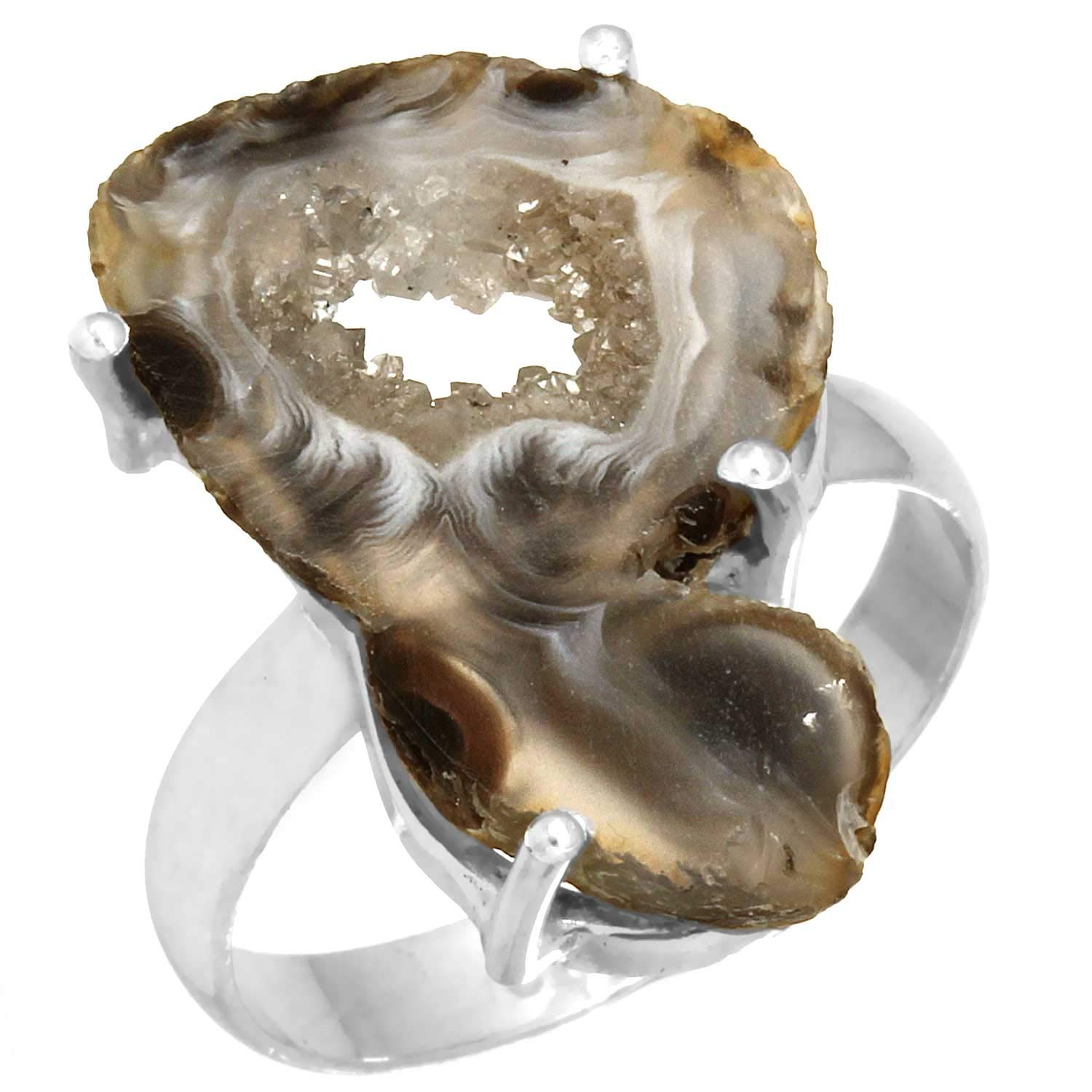 Solid 925 Sterling Silver Jewelry Multi-Color Geode Druzy Ring
