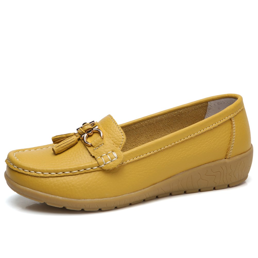 NineCiFun Womens Leather Tassel Loafers Slip on Work Shoes(8.5 B(M) US,Yellow)