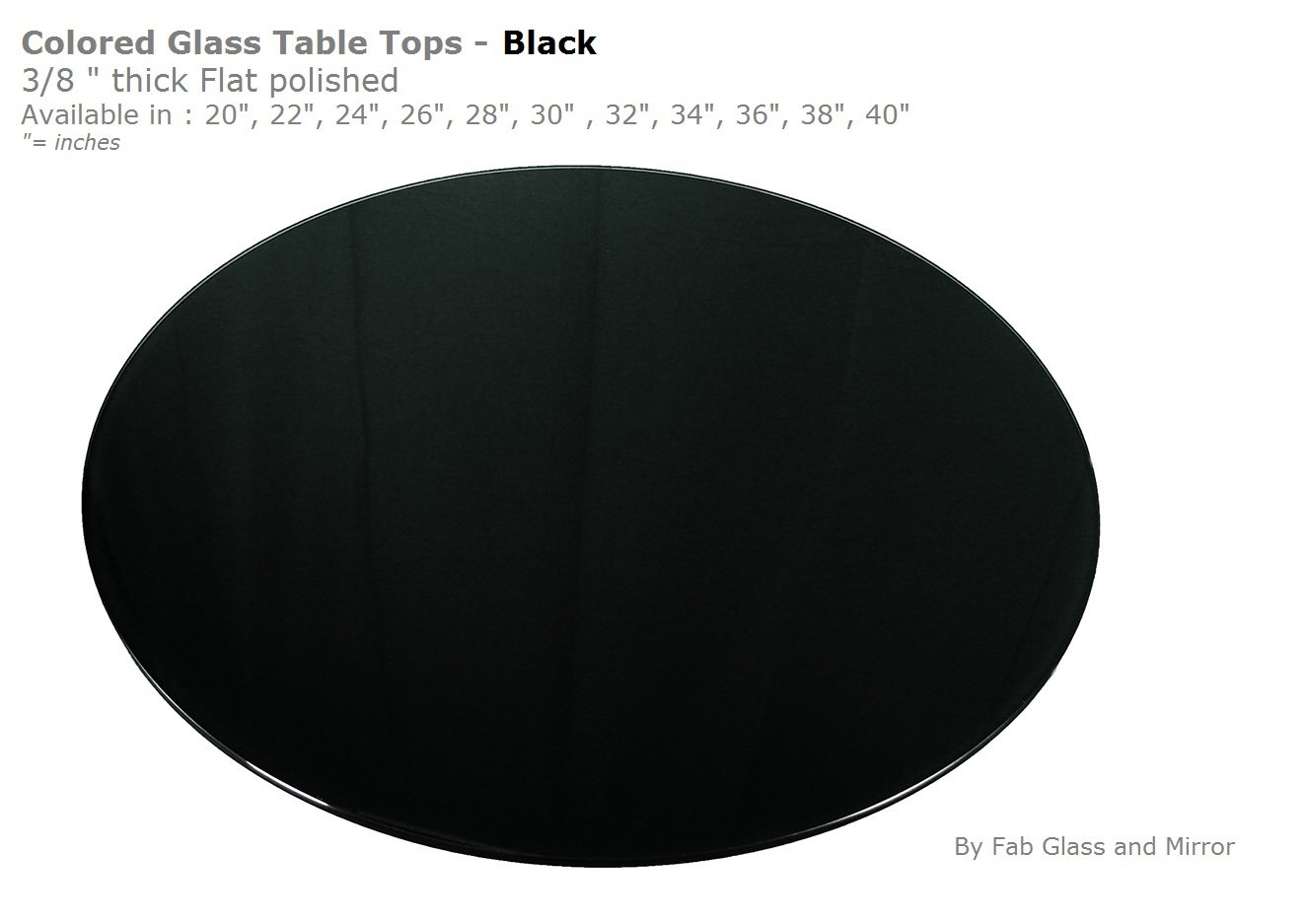 Fab Glass and Mirror 3/8'' Thick Flat Tempered Round Glass Table Top,  20'',  Black