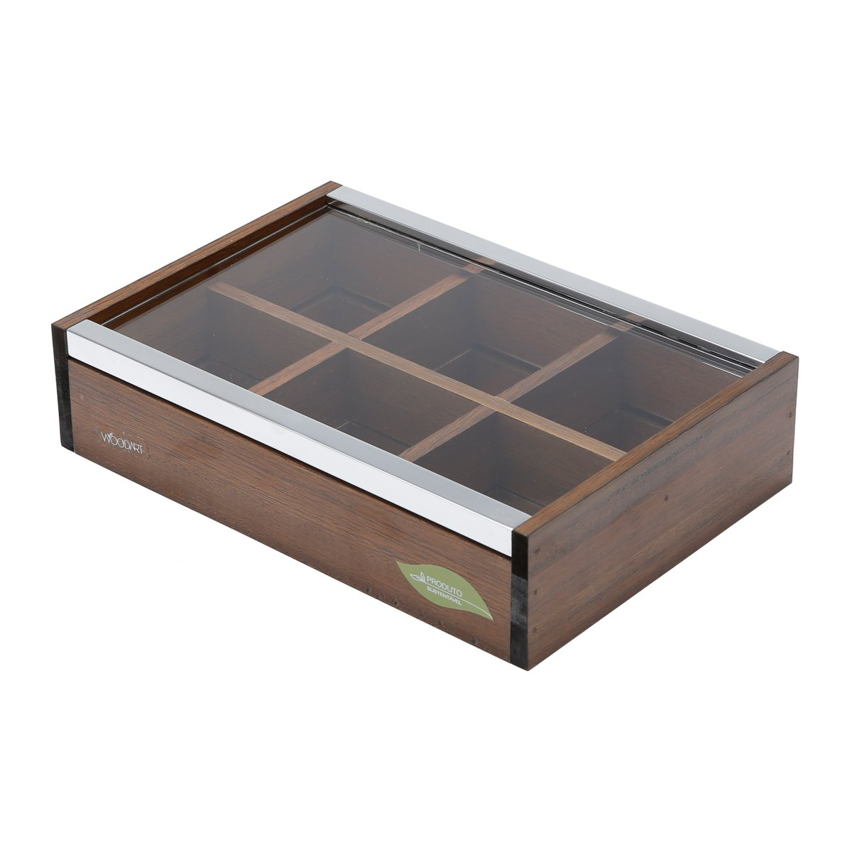 WOODART Wooden Tea Box- Tea Bag Organizer, Tea Chest, Tea Storage (6 compartments with lid)