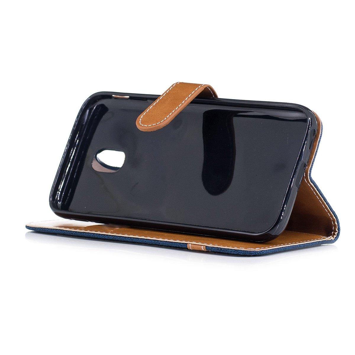 Leinen Dunkelblau Canvas PU Leder Flip Cover Brieftasche Ledertasche Handyh/ülle Tasche Case Schutzh/ülle H/ülle mit Handschlaufe f/ür Samsung Galaxy J3 2017 ISAKEN Kompatibel mit Galaxy J3 2017 H/ülle