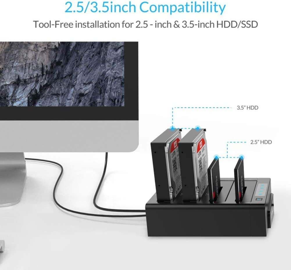Traioy USB 3.0 to SATA External Hard Drive Enclosure Docking Station for 2.5//3.5 Inch HDD//SSD Support UASP and 8TB,Black