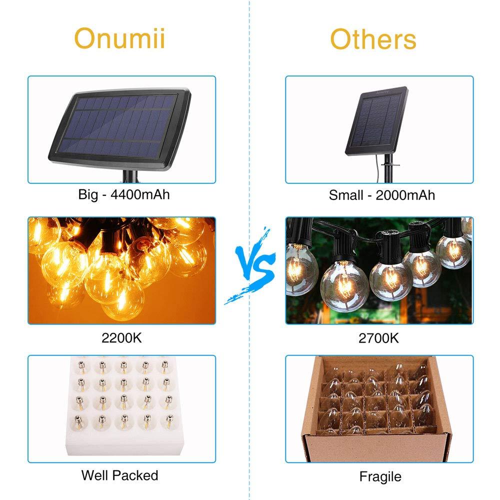 Onumii Solar Outdoor String LED Lights 7.5M 4400mAh, 2200K Amber Light, 25 Sockets 27 G40 LED Bulbs, Romantic Outdoor Decorative String Lights For Yard, Patio, Deck, Pergola, Umbrella Lights