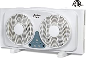 JPOWER 9 Inch Twin Window Fan, 3-Speed Reversible Air Quiet Flow and Thermostat Control,ETL Safety Listed