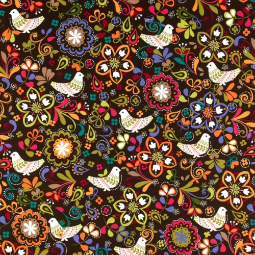 Birds Medallions (Michael Miller Birds of Norway Espresso Fabric By The Yard)