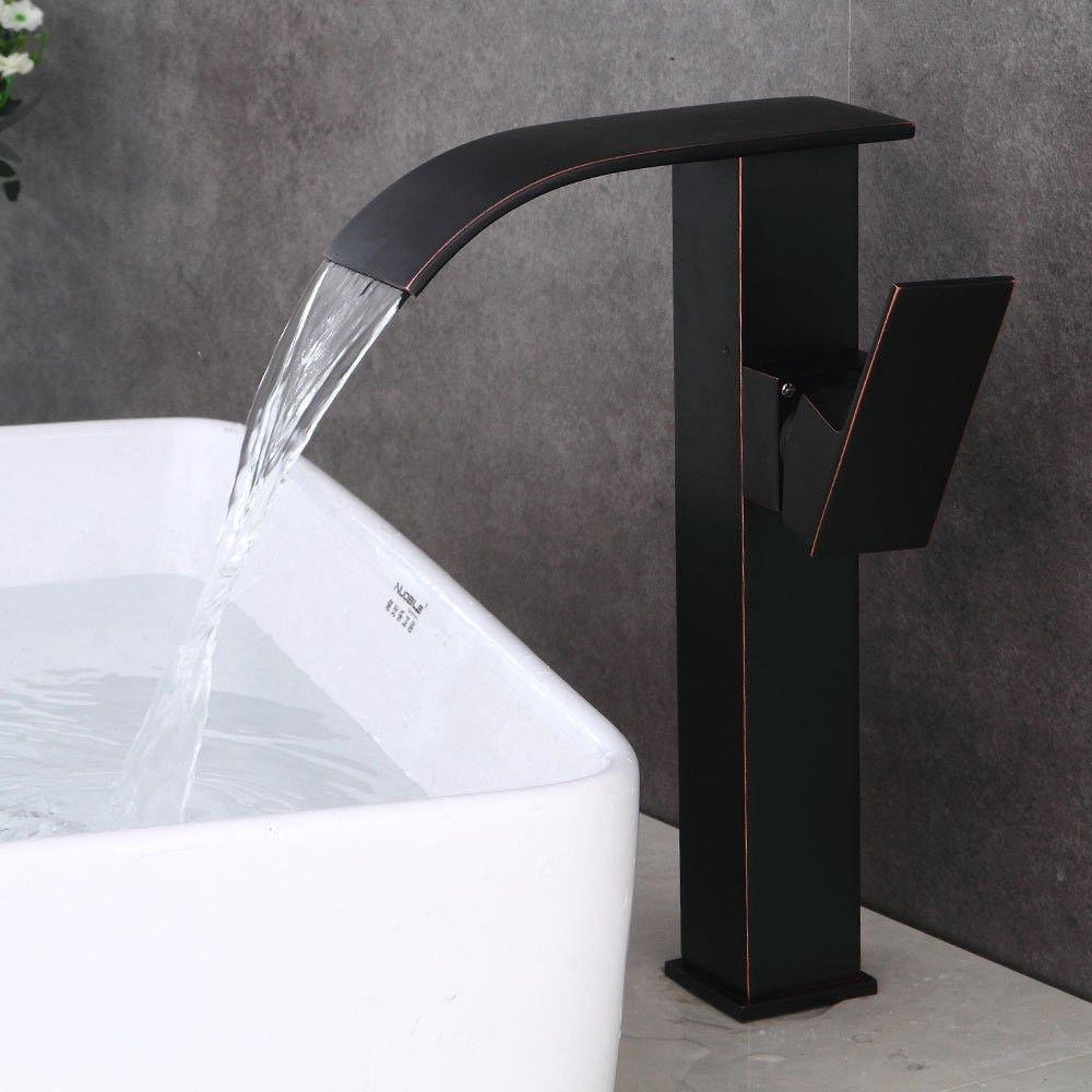 ANNTYE Waschtischarmatur Bad Mischbatterie Badarmatur Waschbecken Wasserfall mit warmen und kaltem Wasser Einhebelsteuerung Kupfer Schwarz Badezimmer Waschtischmischer