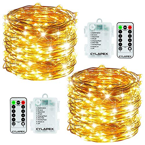 CYLAPEX 2 Set String Lights 8 Mode 50LED Battery Operated Fairy Lights 16.4FT Copper Wire Waterproof Twinkle Firefly Lights with Remote for Wedding Christmas D